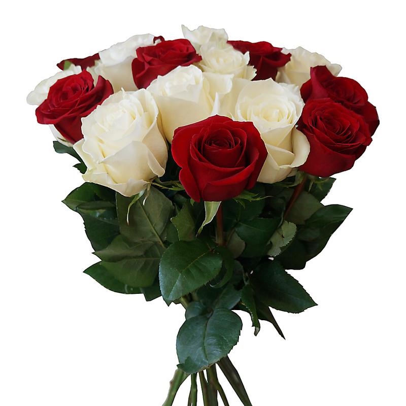 Букеты красных и белых роз